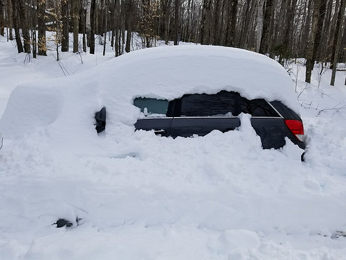 car emerging from snow